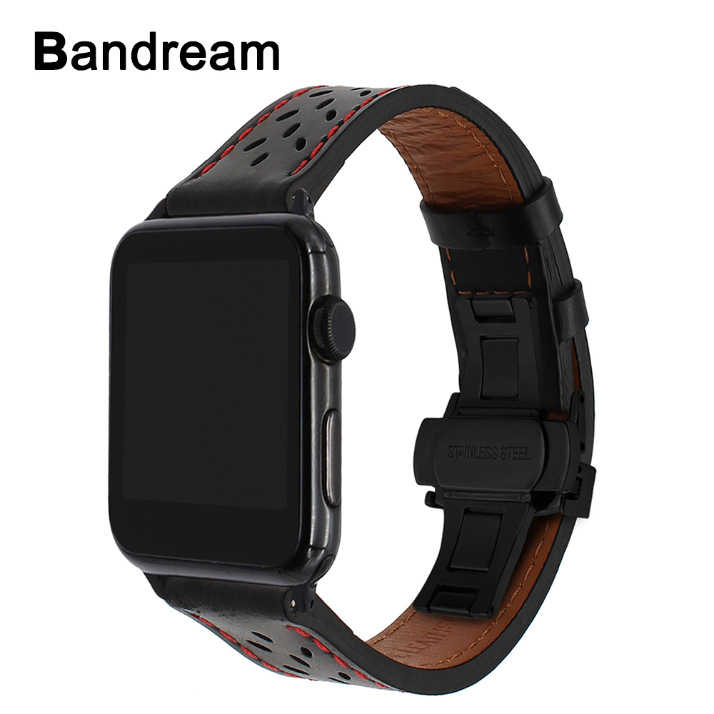 Italy Genuine Calf Leather Watchband for iWatch Apple Watch 38mm 40mm 42mm 44mm Series 1 2 3 4 Band Steel Butterfly Buckle Strap цена