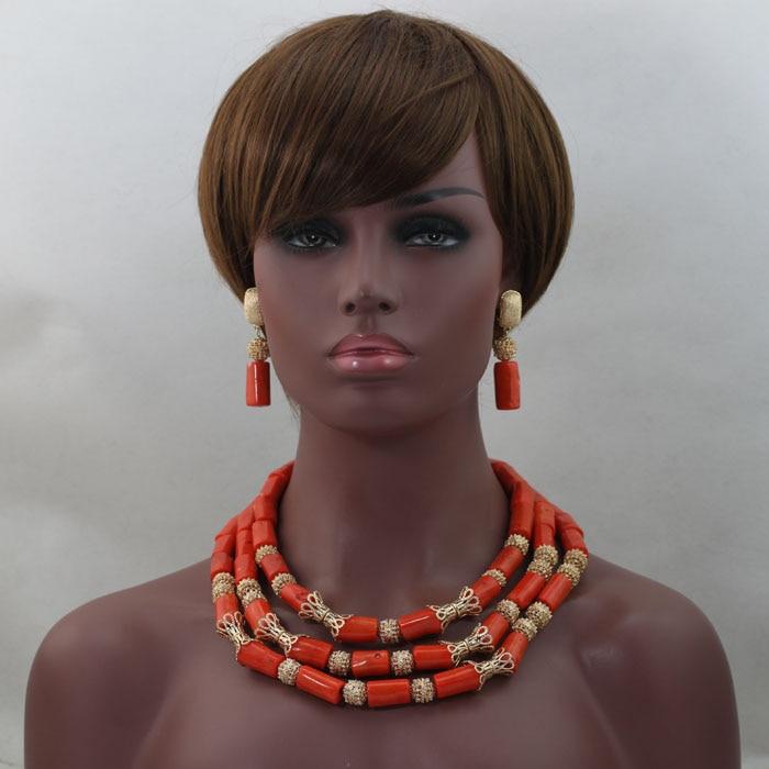Splendide mariage africain perles de corail ensemble de bijoux femmes élégantes ensembles de bijoux à la main livraison gratuite hx278