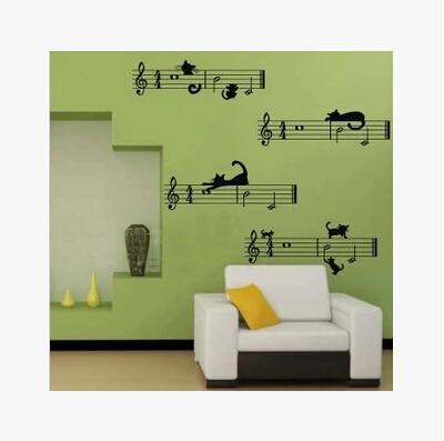 US $14.54 15% di SCONTO|Fodera note di musica del fumetto aula parete  camera da letto soggiorno sfondo della parete della stanza adesivi adesivi  ...