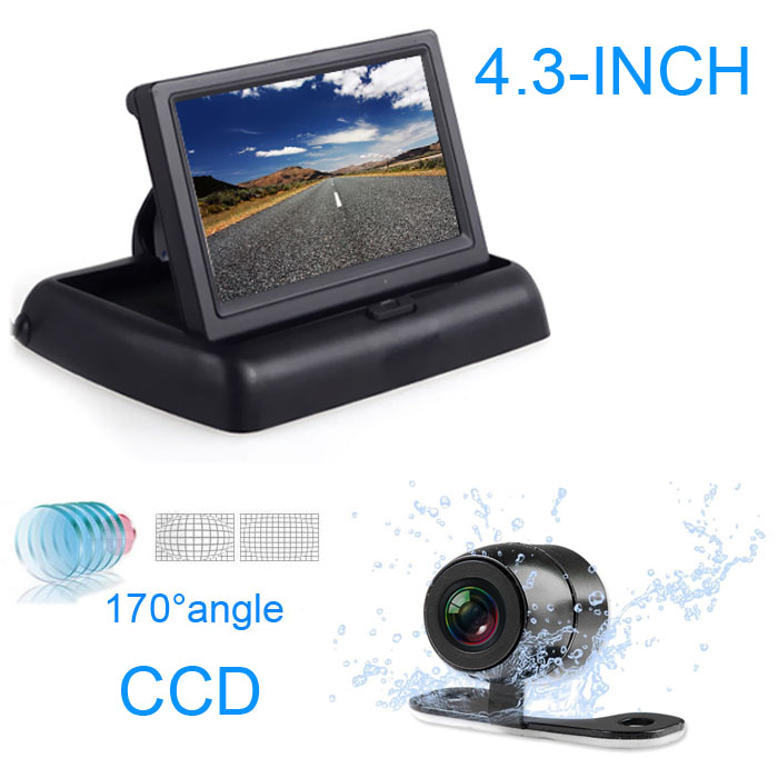 "4.3\"" Car <font><b>LCD</b></font> Media Monitor TV/DVD/GPS Screen+Front&Back CCD 170degree Rear View Camera"