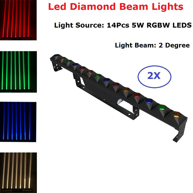 2XLot Led Diamond Beam Lights 14X5W RGBW 4 Colors LED Bar Party Lights DMX Stage Wash Effect Lights Perfect For Disco Club Xmas