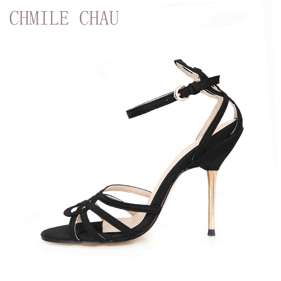 CHMILE CHAU Satin Sexy Party Shoes Women Open Toe Thin High Heels Dating Bridal Ankle Strap Lady Sandals Zapatos Mujer 3845C 5c in High Heels from Shoes