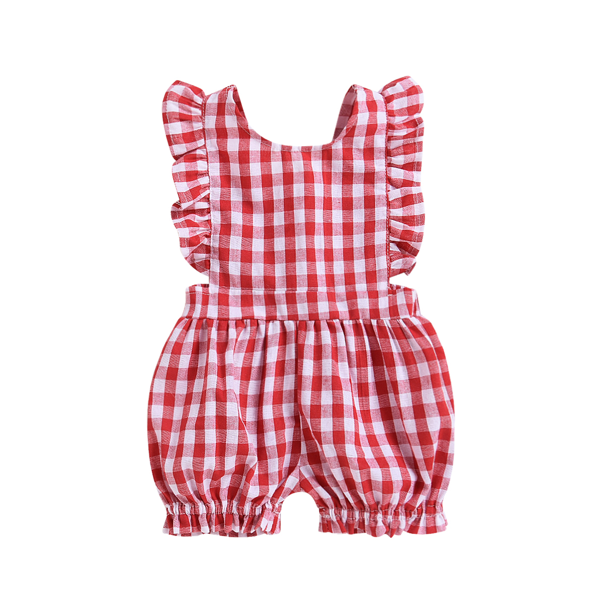 Pudcoco 0-24M Newbron Baby Girls Red Plaid   Romper   Summer Sleeveless Ruffles Infant Girls Jumpsuit Cotton Baby Girls Clothes