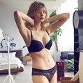 2017 de La Moda Francesa Encaje Sexy Bombshell Bra Y Panty Set Ropa Interior Bordados Mujeres de Cierre Frontal de la Ropa Interior de Verano Estilo