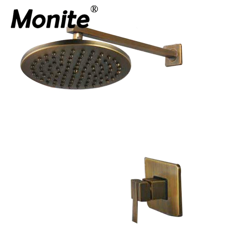 8 inch Antique Brass Round Wall Mounted Bathroom Rainfall shower faucet Sets head & hand shower Shower Sets factory direct sale best price 8 brass head shower with hand shower bathroom shower faucet antique