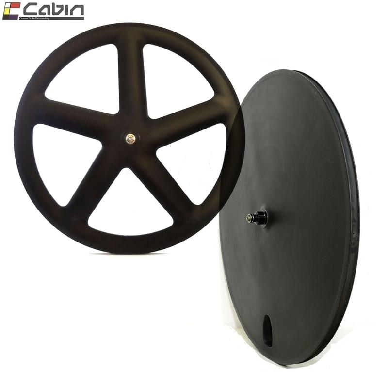 Track/Time Trial/Triathlon bike carbon wheelset front 5 spoke rear disc carbon wheel, 5-spoke + disc wheelset