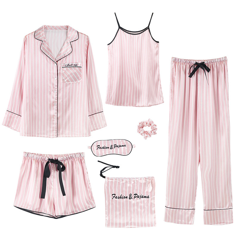 Lisacmvpnel 7 Pcs Woman   Pajama     Set   Nightdress+Top+Long Short Pant   Set   Striped Sexy Female   Pajamas