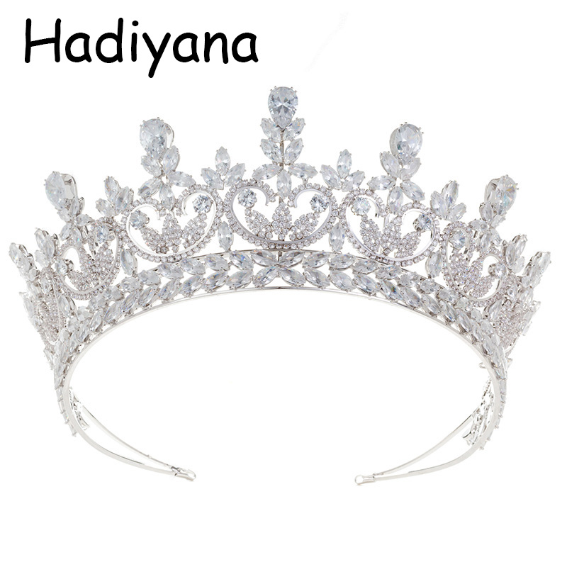 все цены на Hadiyana New Bride Bridesmaid Wedding Tiara Crown Headband Shiny Cubic Zirconia Party Jewelry Crown Valentine's Day Gift HG6077