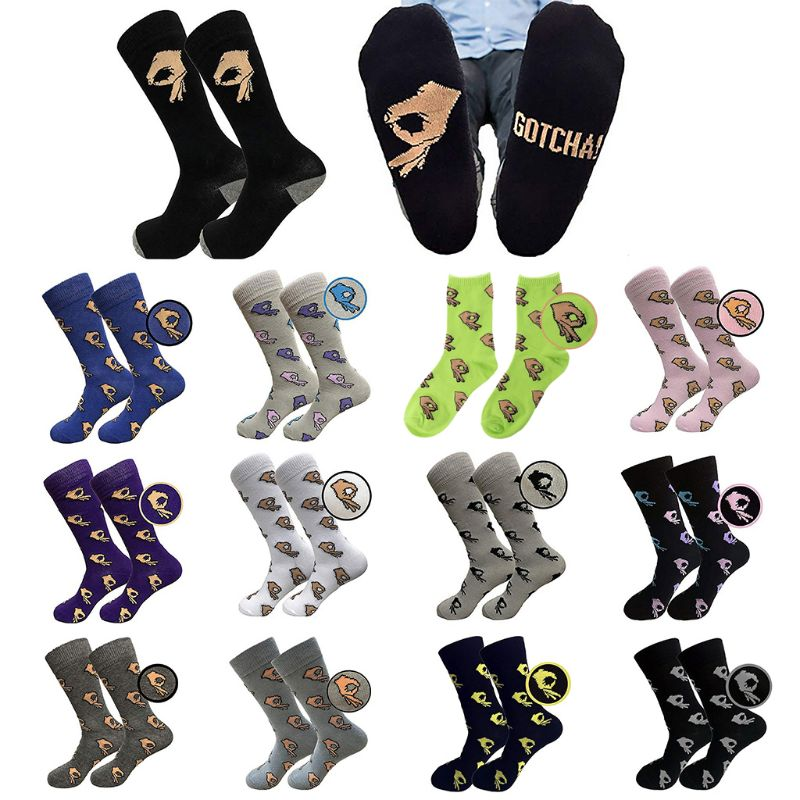 18 Colors Men Unisex Winter Knitted Mid Calf Long Crew Socks Funny OK Gesture Printed Hip Hop Trendy Cotton Hosiery Skateboard S