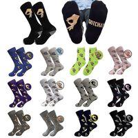 18 Colors Men Unisex Winter Knitted Mid Calf Long Crew Socks Funny OK Gesture Printed Hip Hop Trendy Cotton Hosiery Skateboard S