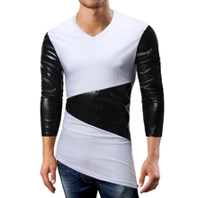 0be9aa9a298 G.S Patchwork Irregular Long Sleeve Slim V-neck Elastic T Shirt hit color  Casual