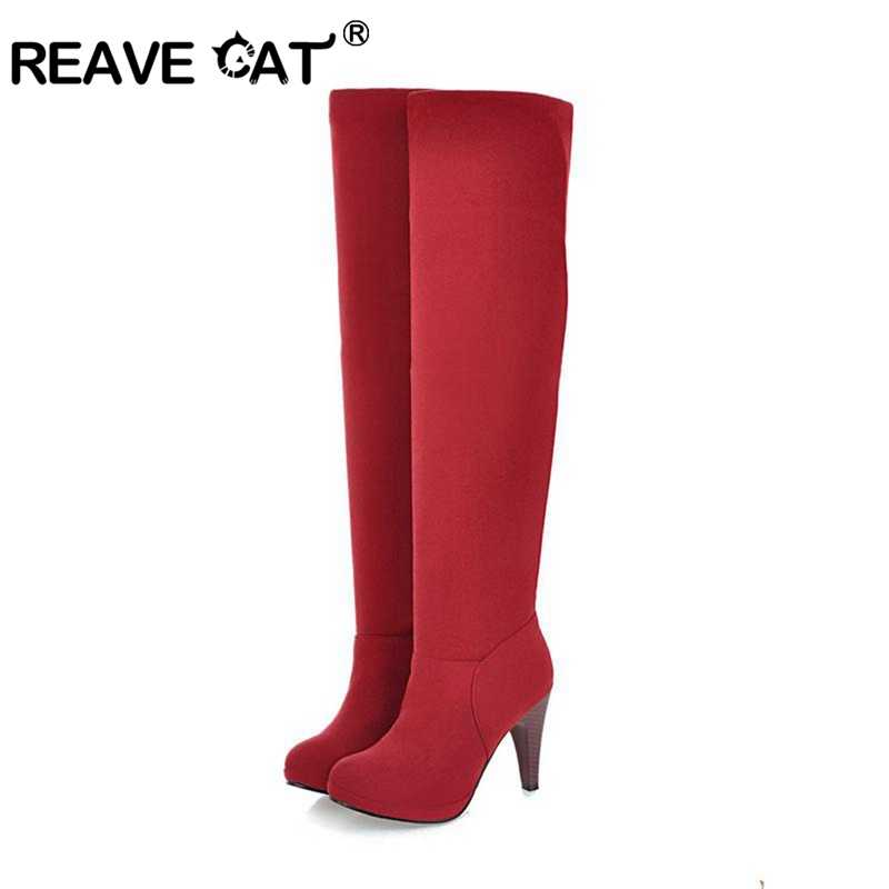 REAVE CAT รองเท้าผู้หญิงรองเท้าส้นสูงสุภาพสตรีรองเท้าเข่า Flock แพลตฟอร์มที่เพิ่มขึ้นรอบ toe สีดำสีน้ำตาลแฟชั่นขนาดใหญ่ 33-43