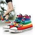 Cool Ladies Colorful Casual Rainbow Canvas Shoes Elegant Fashion Women Flat Shoes Student Leisure Shoes Unique Footwears C208-2