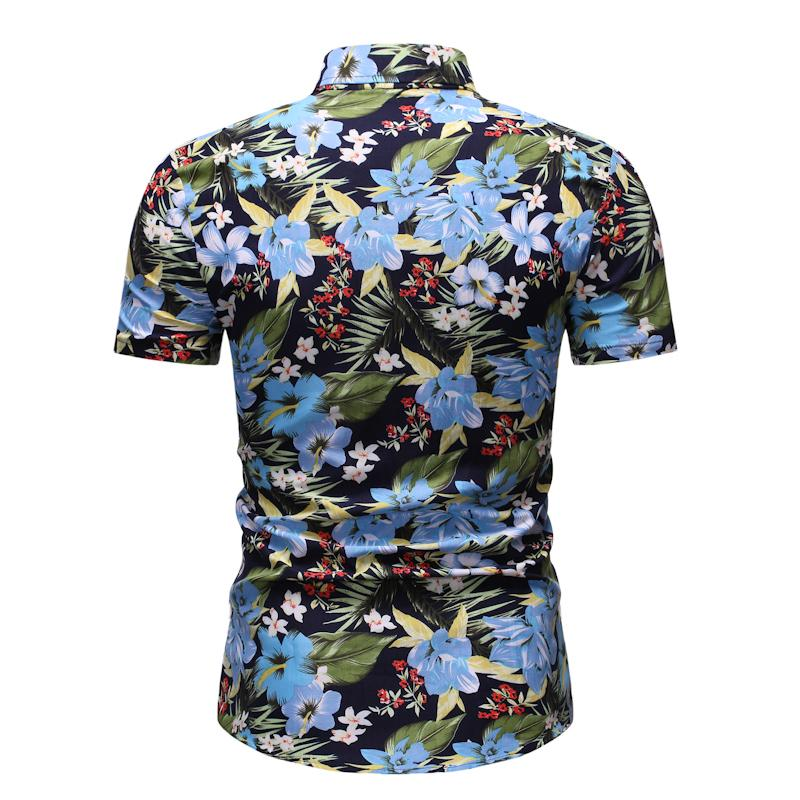 Short Sleeve Blouse Men's Clothing Floral New Model Shirts Hawaiian Style Men's Casual Floral Shirt Flower