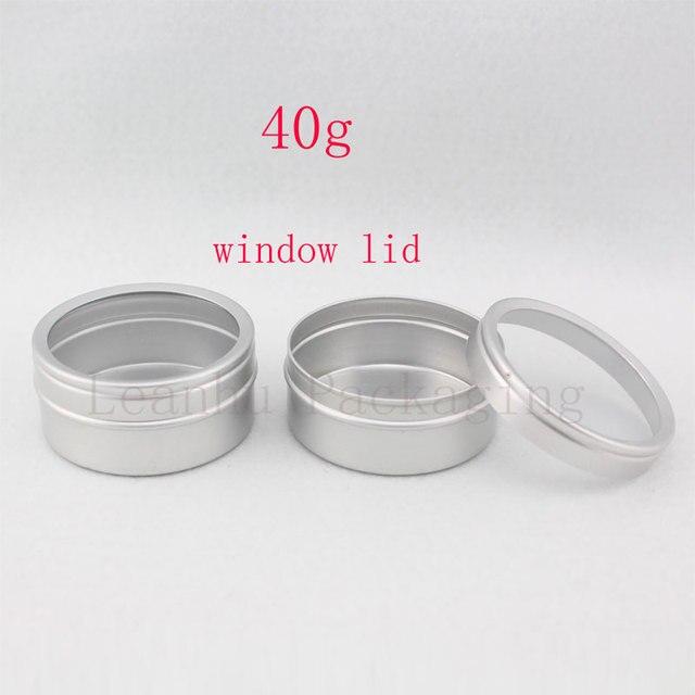 40 gam X 100 rỗng chăm sóc da kem nhôm container với cửa sổ cap, kim loại nhôm jar cửa sổ nắp, kim loại chai tin nồi có thể