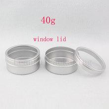 40g X 100 lege huidverzorging crème aluminium containers met venster cap, metalen aluminium jar venster deksel, metalen fles tin pot kan