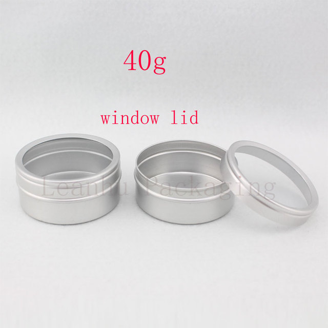 Recipientes de alumínio vazios do creme dos cuidados com a pele 40g x 100 com tampa da janela, tampa de alumínio da janela do frasco do metal, potenciômetro da lata da garrafa do metal