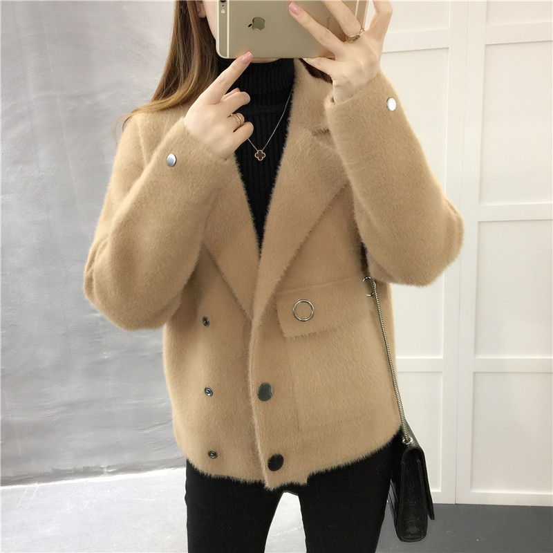 Sweater jacket, Korean version 2018, new loose knitted sweater, imitation mink velvet suit collar coat.