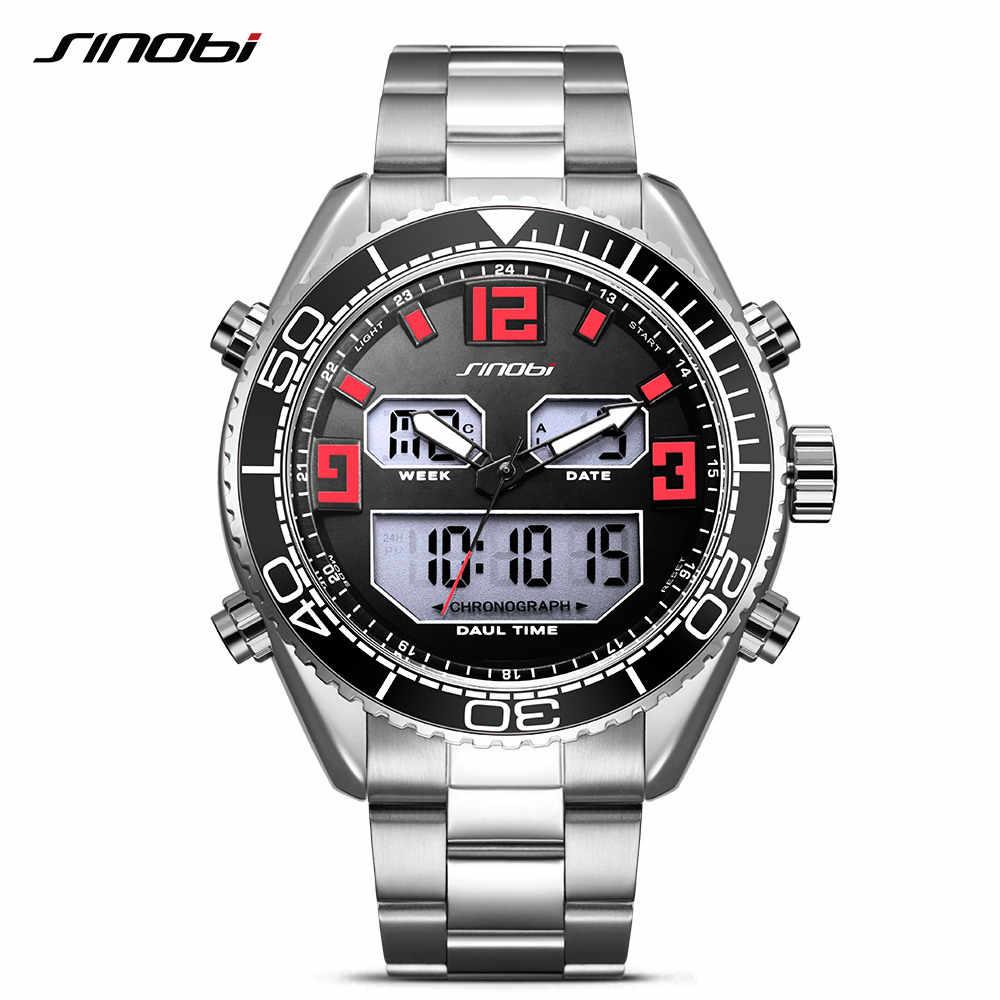 SINOBI Mens שעונים אופנה מקרית פלדת שעון יד גברים למעלה מותג יוקרה אנלוגי דיגיטלי בחזרה אור LED שעון relogio masculino