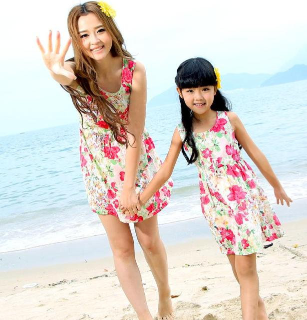 FAMILY Floral Dress New Summer Woman Girl Dresses, Girls Family clothes, Child Vest dress
