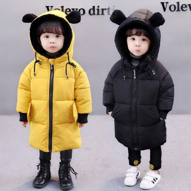 Get Discount Price Baby Winter coats Boys&girls outerwear small children's clothing kids hooded jacket  solid Park Cotton Suit Girl Zipper Coat
