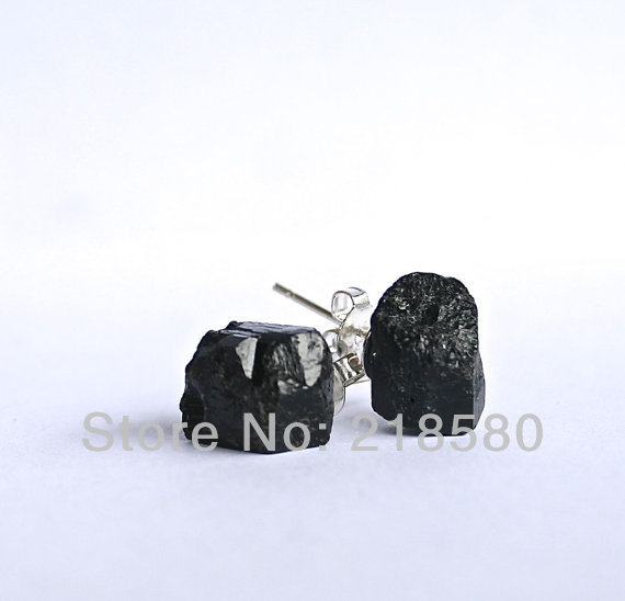 bdfc42d49 SER 011 Raw Black Tourmaline Stud Earrings-in Stud Earrings from ...