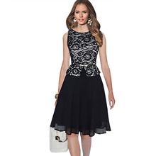 Top Fashion Women Chiffon Lace Dot Plaid Stretchy Slimming Sleeveless Long Ball Gown Party Dress Plus Size S - 4XL with Sashes