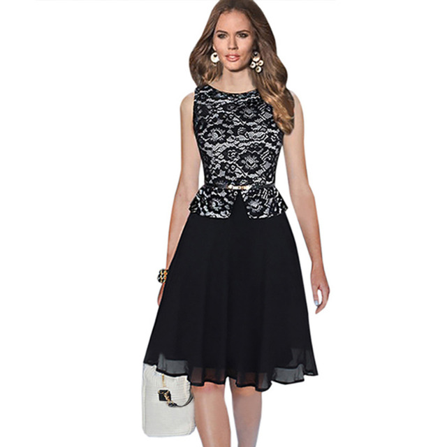 Oxiuly Top Fashion Women Chiffon Lace Dot Plaid Stretchy Slimming Sleeveless Long Ball Gown Party Dress with Sashes