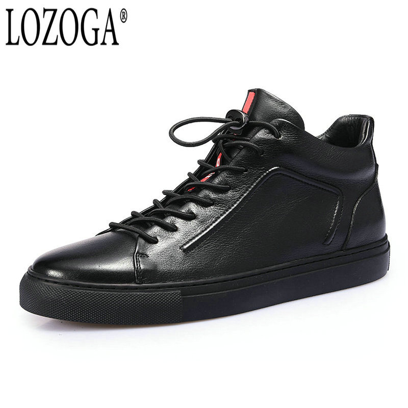 Lozoga New Men Shoes Fashion Boots Ankle 100% Genuine Leather High Quality Handmade Luxury Brand Boots Black Lace Up West Style