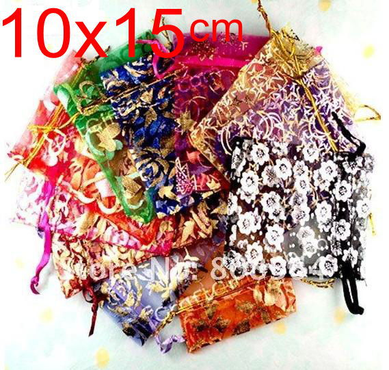 OMH Wholesale 50pc 10x15cm 20color Love Rose Heart Christmas Wedding Voile Gift Bag Organza Bags Jewlery Packing Gift Pouch BZ09