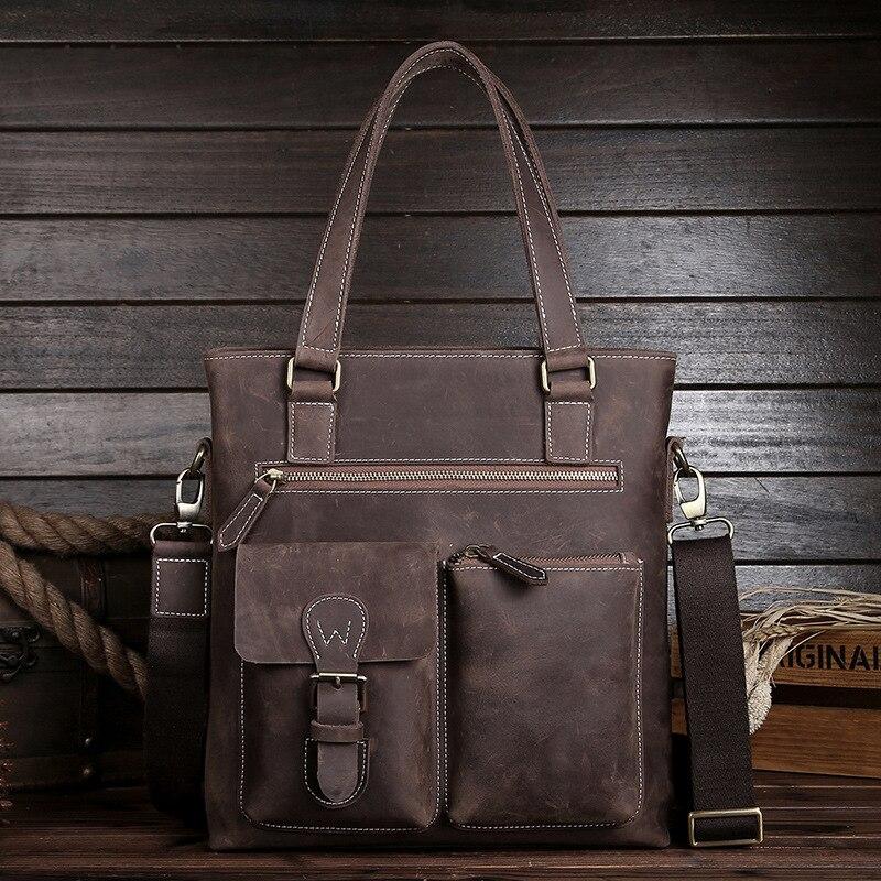 Luxury Handmade Crazy Horse Leather Vertical Perfect Quality Men Handbag Vintage Genuine Leather Shoulder Messenger Bags