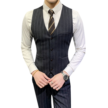 Suit Vest Men Striped Formal Dress Slim fit Vest party Male Business Wedding Waistcoat kids striped and star flag print vest dress