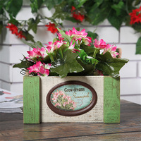 Creative Wood Planter Pastoral Style Storage Box Artificial Flower Garden Pots planters Home Decoration