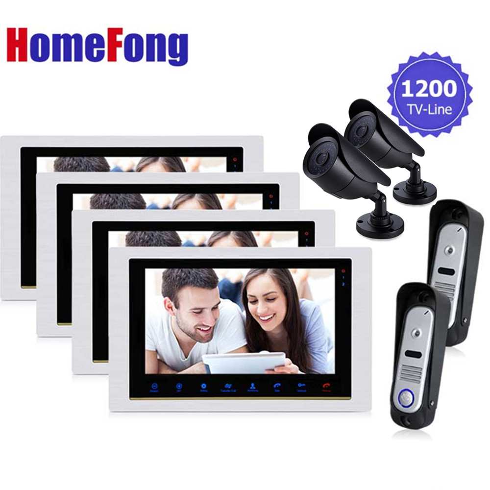 Homefong 4V2V2 Video Doorphone Intercom System Wired Intercom Doorbell Waterproof Door Camera with CCTV Security System