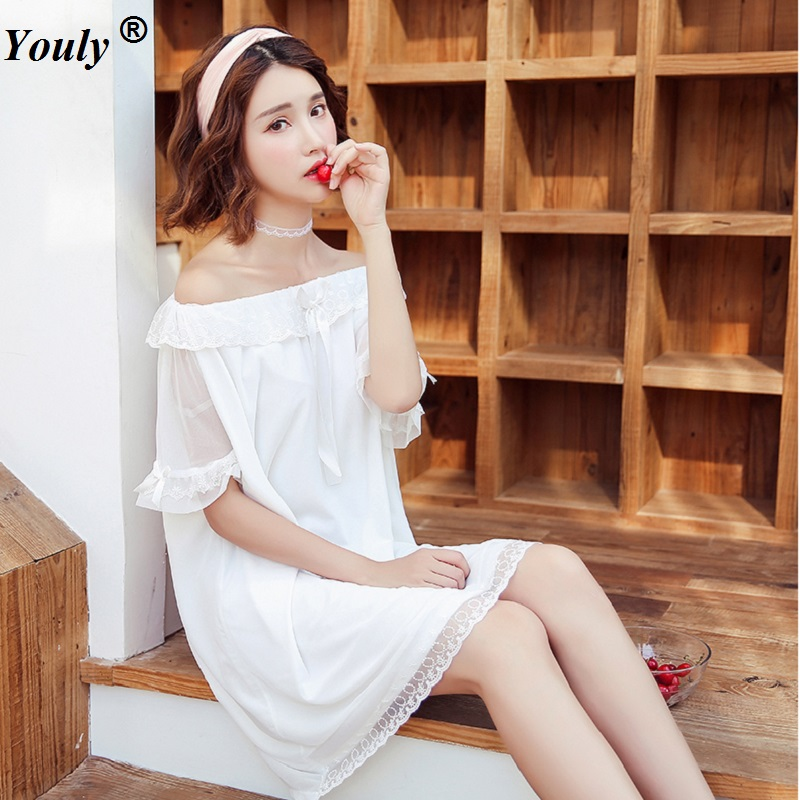Nightgowns     Sleepshirts   2019 Cute Lace Sleep Lounge Nightdress Sexy   Nightgown   Female Palace Wear Solid Sleepwear Lace Home Dress