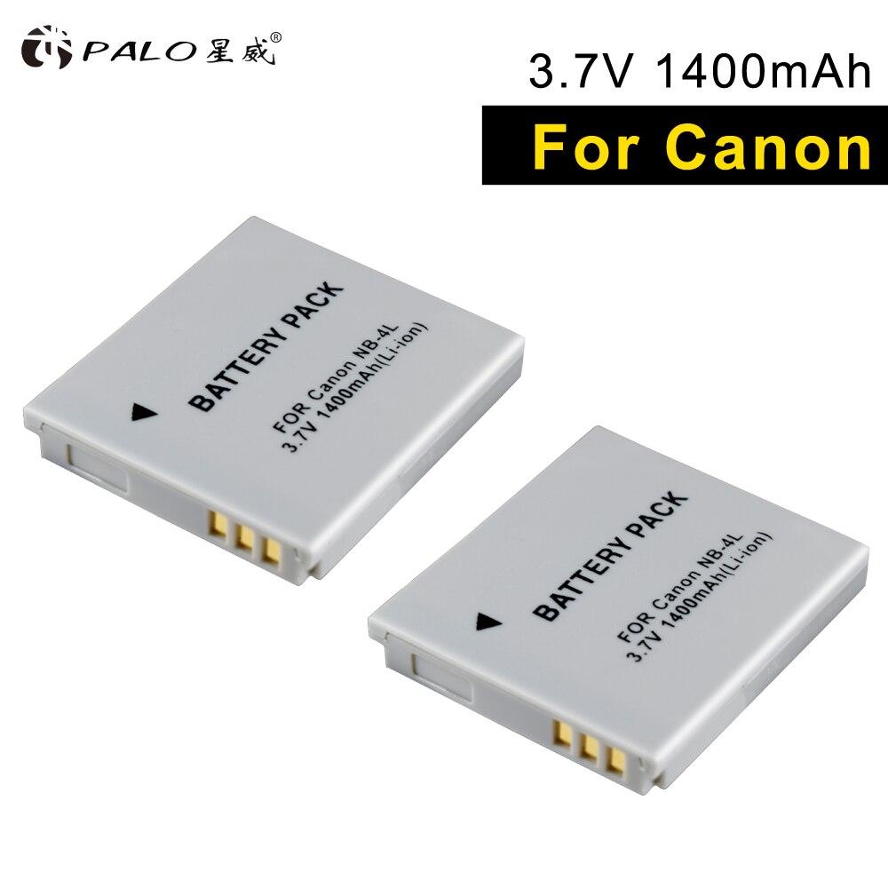 PALO 2 piezas NB-4L en cámara digital batería para Canon IXUS 40 60 120 130 IS117 220 230 255 SD1000 ISSD430 inalámbrico SD450 630 TX1
