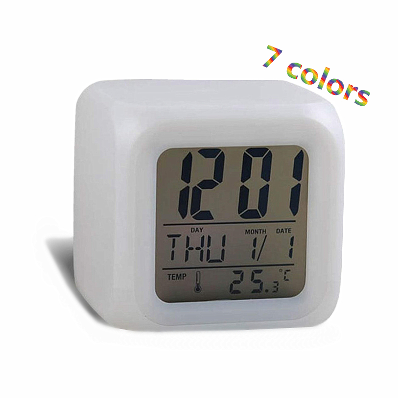 7 Colors Change Multifunctional Glowing Digital Alarm Clock LED Watch Glowing Thermometer Desktop Clock Cube Wholesale 30JY20