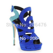 Latest blue womens shoes sandals high heel platform pumps summer genuine leather sheos woman suede free shipping