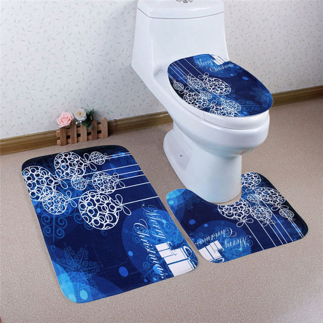 1 Set Christmas Toilet Foot Pad Seat Cover Non Slip Bathroom Sets Pedestal Rug