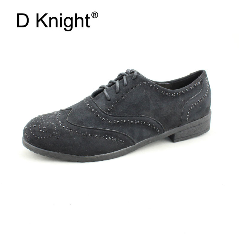 D Knight 2018 Hot Sale Black Oxford Shoes For Women New Crystal Low Top Lace Up Brogue Shoes Flat Shoes Gift Plus Size 35-41