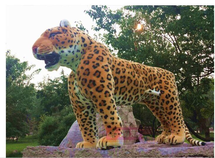 Simulation animal debout léopard grand 110x72 cm en peluche jouet, peut être rided. Photographie prop, partie décoration De Noël cadeau h888