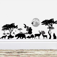 Wild Tree Elephant Bear Deer Black Wall Stickers Home Decor Living Room Bedroom Animals Decal DIY Poster PVC Mural Art
