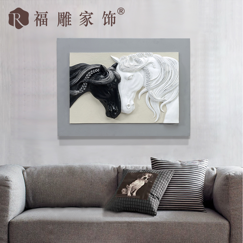 Fu carved furnishings decorative painting paintings original restaurant entrance frameless single relief wall mural painting bac