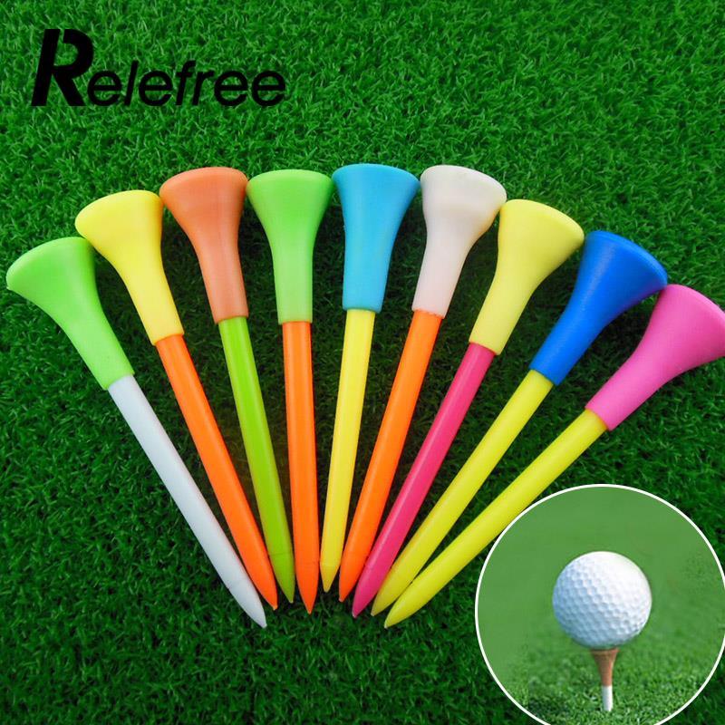 Relefree New 50pcs 85mm Multicolor Plastic Golf Tees Golf