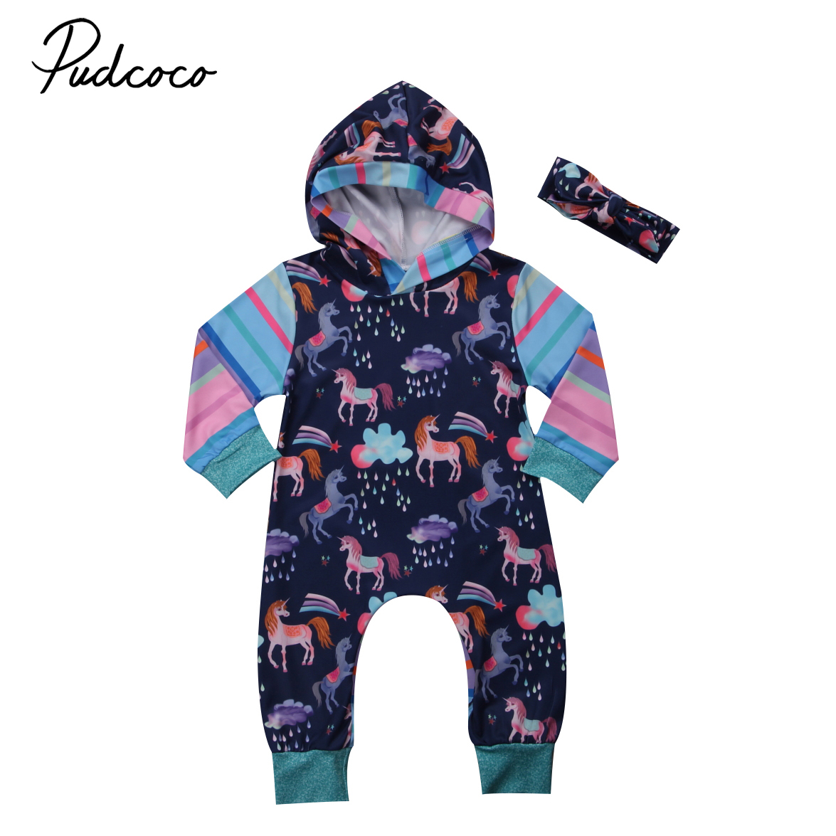 Pudcoco Aurumn Newborn Infant Baby Girl Boy Clothes Long Sleeve Horse Print Hooded Romper Playsuit Outfits Toddler Clothing
