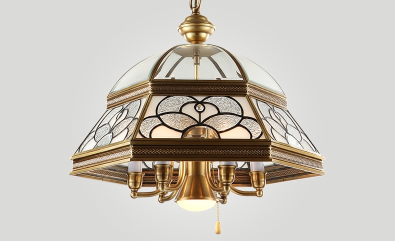 Brass Chandelier With 45cm Glass Dome Shade
