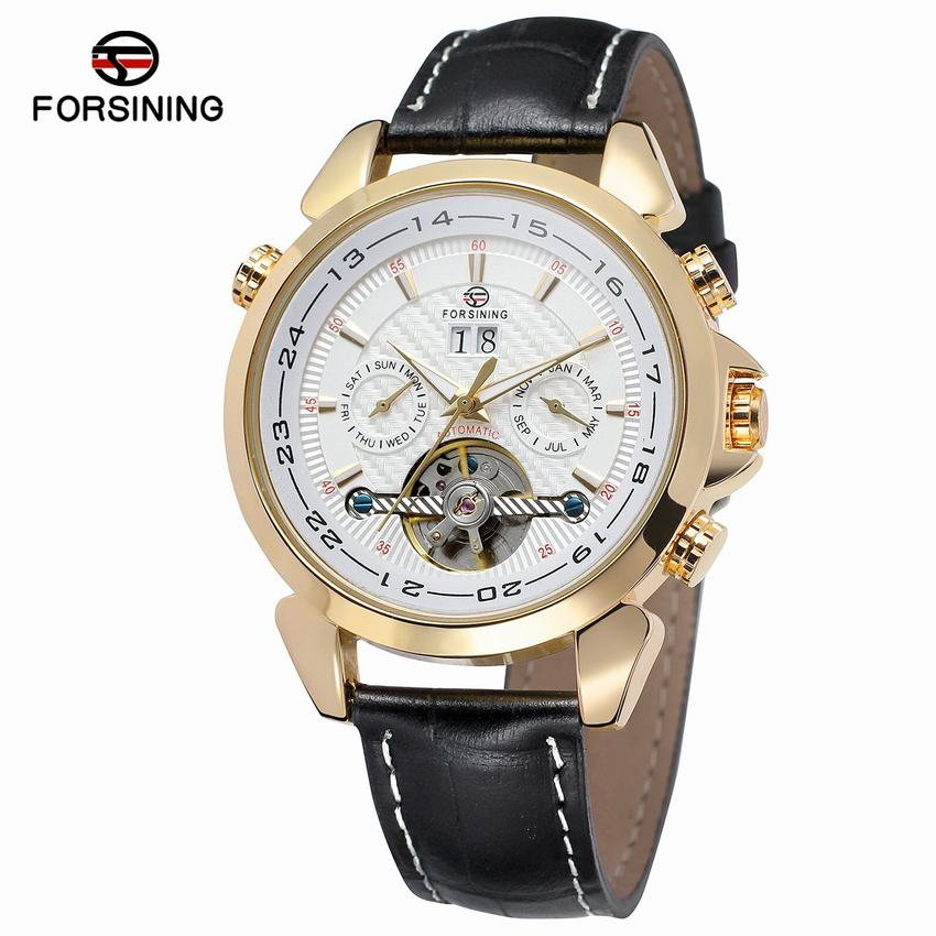 FORSINING Brand Men Mechanical Tourbillon Fashion Watch Man Sport Automatic Leather Strap Watch + Gift Box forsining latest design men s tourbillon automatic self wind black genuine leather strap classic wristwatch fs057m3g4 gift box