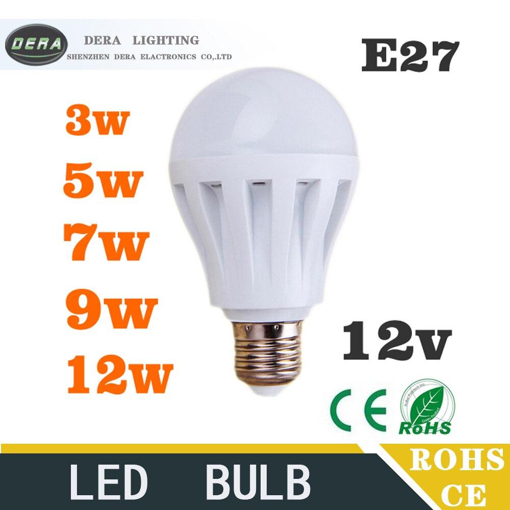 1 piece Led Bulbs 3W5W7W9W12W led light bulb DC 12V E27 12 volt Led De Luz Wat Lamp bulb to led Bedroom led light free shipping