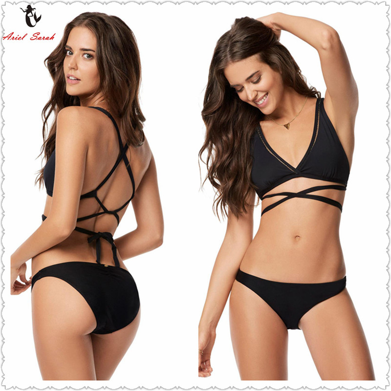 5f85aa4898 Ariel Sarah Brand Simple Solid One Piece Swimsuit Bathing Suit Women Sexy  Deep-V Swimwear Halter Monokini Beachwear Bikini Q308 - BikiniConcepts.com  ...