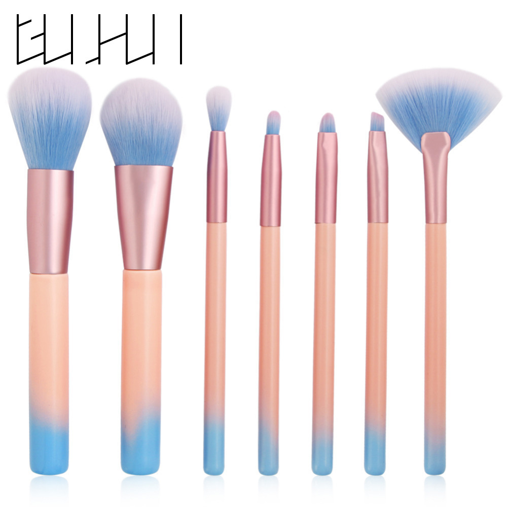 Pro 7pcs Powder Foundation Makeup Brush Set Pink Blue Contour Eyeshadow Eyeliner Lip Blending Cosmetics Brushes Beauty Tool Kit 20 sets makeup brush set foundation liquid powder eyeshadow eyeliner lip concealer blending brush beauty fish cosmetics tools